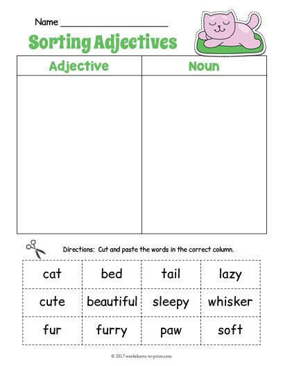 Free Printable Adjective Worksheets Free Printable Kitty Adjective sorting Worksheet