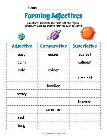 Free Printable Adjective Worksheets Free Printable Planets Adjective forms Worksheet