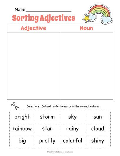 Free Printable Adjective Worksheets Free Printable Rainbow Adjective sorting Worksheet