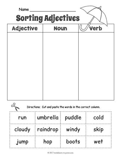 Free Printable Adjective Worksheets Free Printable Rainy Day Adjective sorting Worksheet