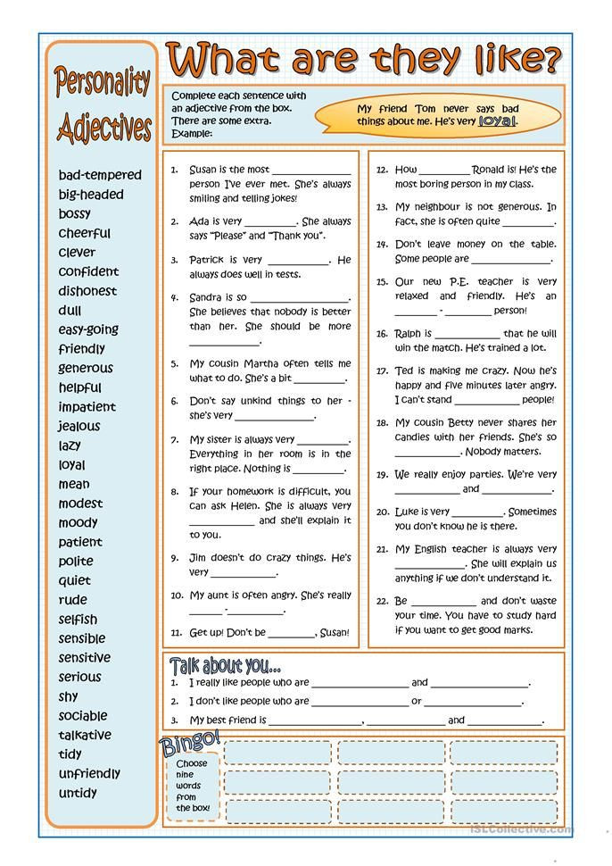 Free Printable Adjective Worksheets Personality Adjectives