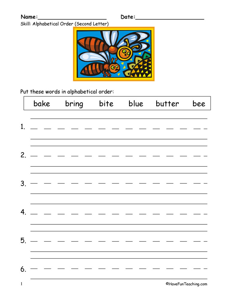 Free Printable Alphabetical order Worksheets Alphabetical order to the Second Letter Worksheet