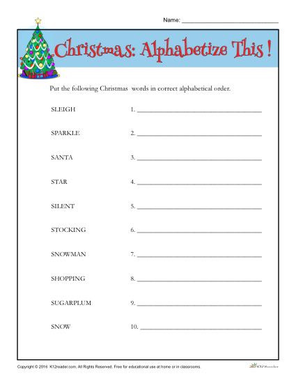Free Printable Alphabetical order Worksheets Christmas Words Activity