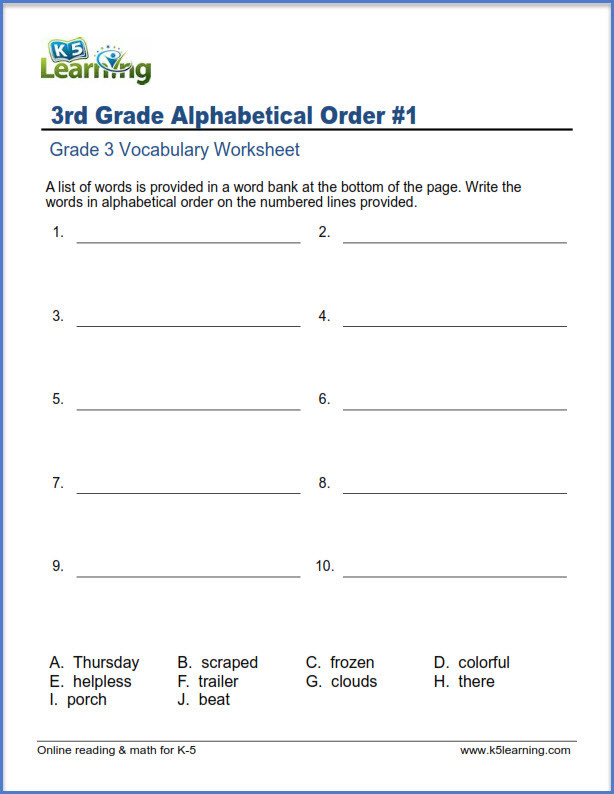 Free Printable Alphabetical order Worksheets Grade 3 Vocabulary Worksheets – Printable and organized by