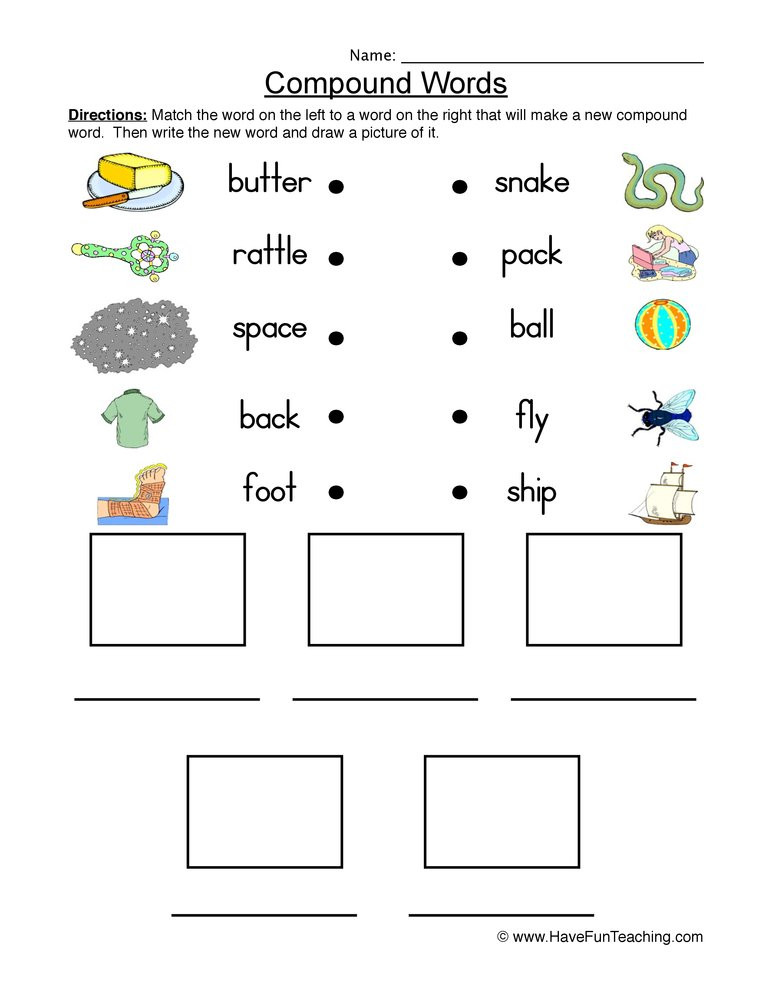 Free Printable Compound Word Worksheets Connect and Draw Pound Words Worksheet