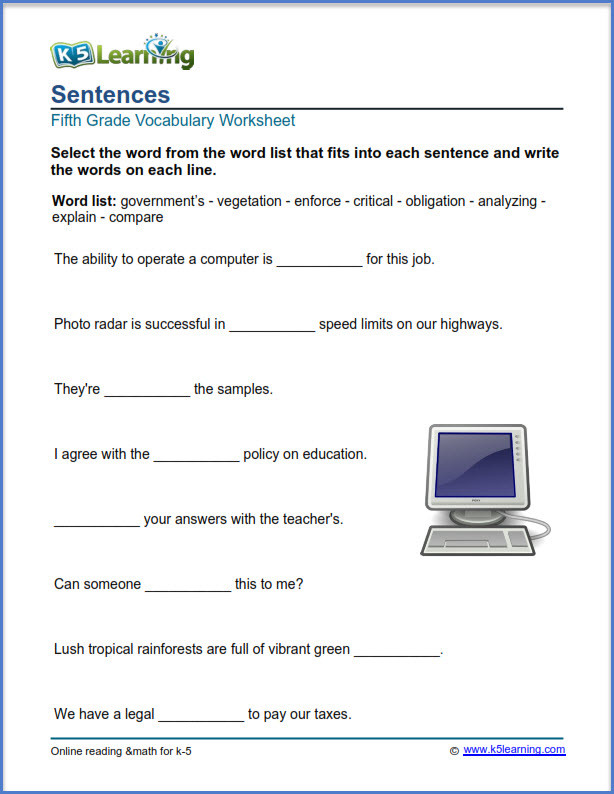 Free Printable Computer Worksheets Grade 5 Vocabulary Worksheets – Printable and organized by