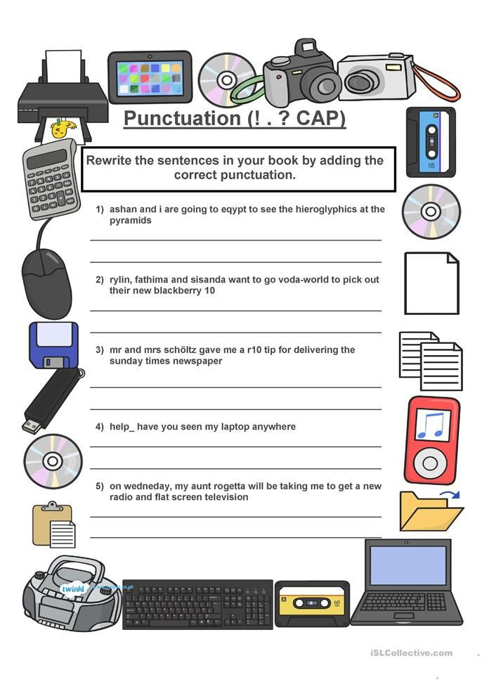 Free Printable Computer Worksheets Punctuation