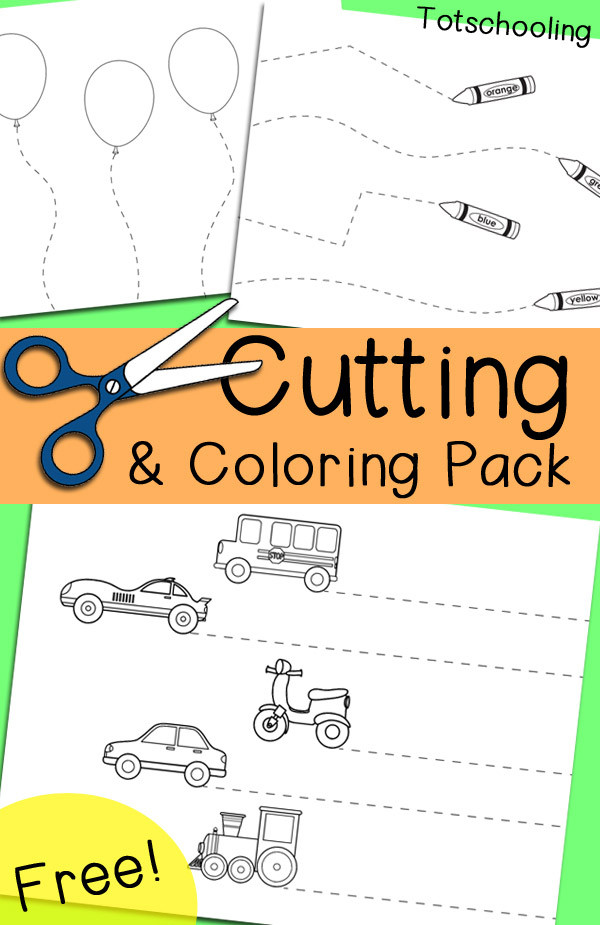 Free Printable Cutting Worksheets Free Cutting & Coloring Pack