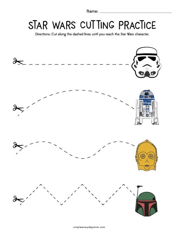 Free Printable Cutting Worksheets Star Wars Cutting Practice Worksheets for Early Learners