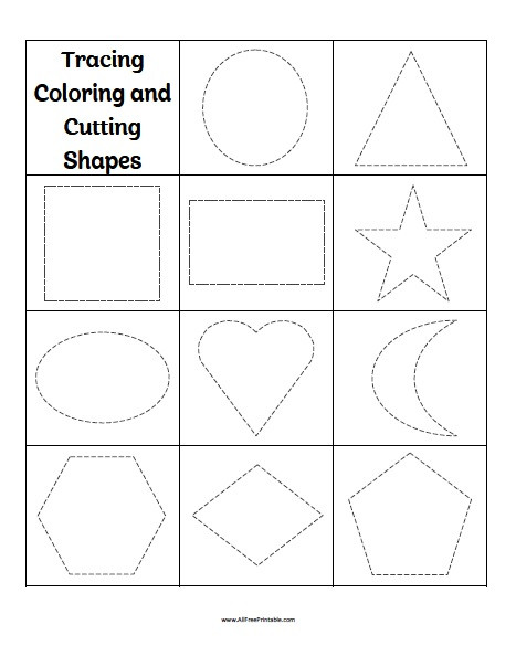 Free Printable Cutting Worksheets Tracing Coloring Cutting Shapes Worksheets Free Printable