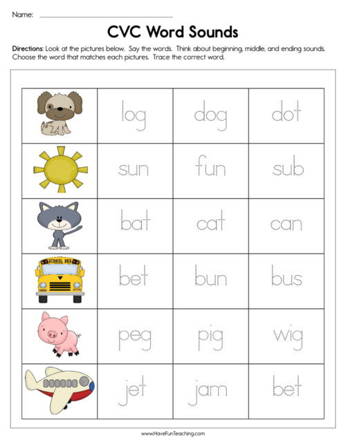 Free Printable Cvc Worksheets Middle sounds Resources • Have Fun Teaching