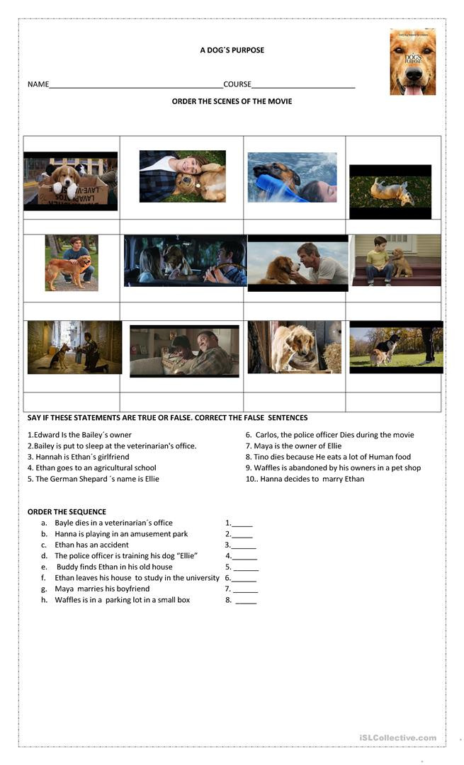 Free Printable Dog Training Worksheets A Dog´s Purpose English Esl Worksheets for Distance