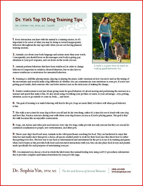 Free Printable Dog Training Worksheets Free Downloads Posters Handouts and More – Dr sophia Yin