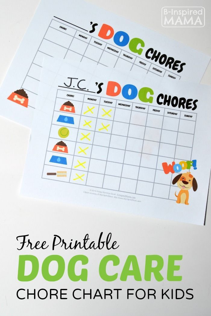 Free Printable Dog Training Worksheets Free Printable Dog Care Chore Chart for Kids