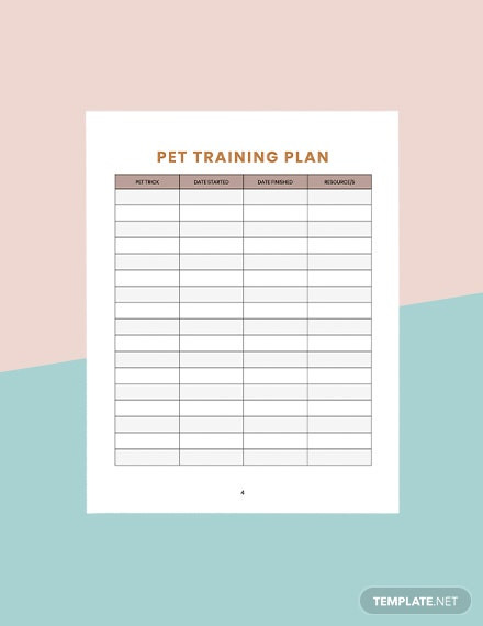 Free Printable Dog Training Worksheets Pet Training Planner Template Word Pages