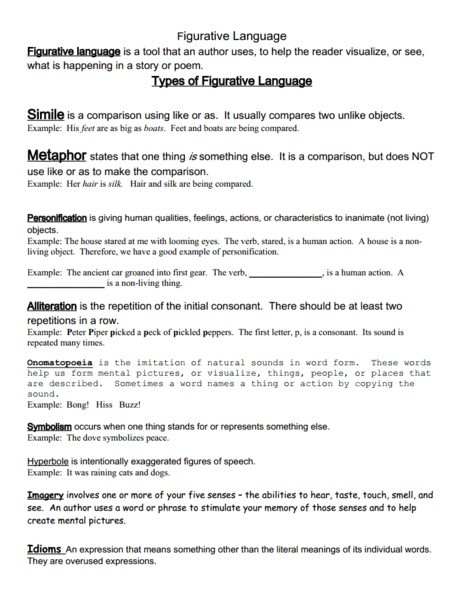 Free Printable Figurative Language Worksheets Figurative Language Packet Handouts & Reference for 6th