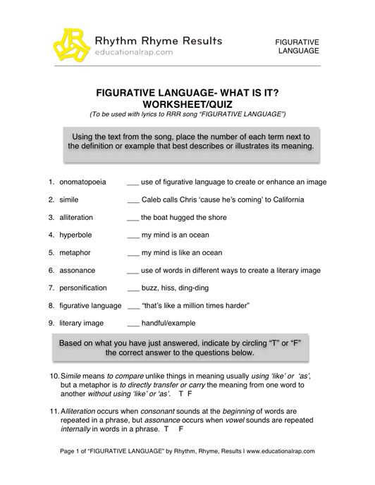 Free Printable Figurative Language Worksheets Printable Figurative Language Worksheets 2
