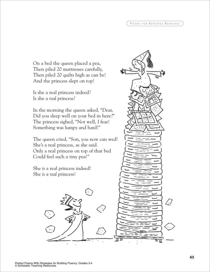 Free Printable Figurative Language Worksheets the Princess and Pea Poem for Groups Printables with