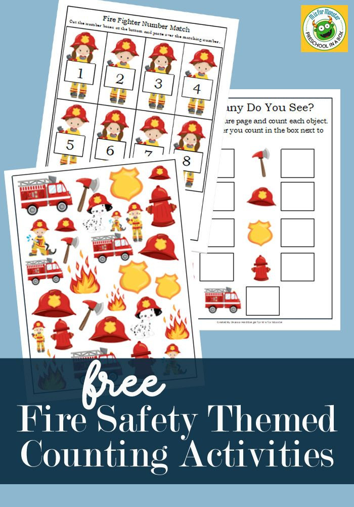 Free Printable Fire Safety Worksheets Fire Safety themed Counting Activity Printables