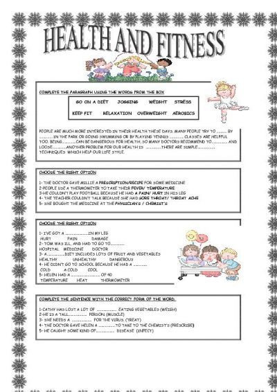 Free Printable Health Worksheets Health and Fitness