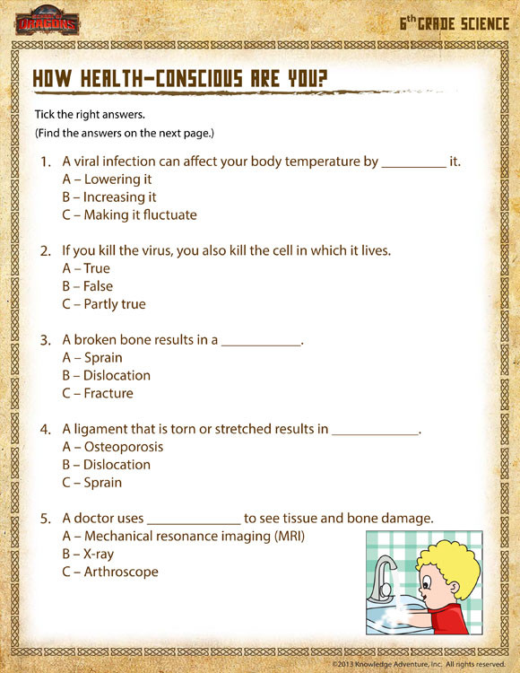 Free Printable Health Worksheets How Health Conscious are You View – 6th Grade Worksheets – sod