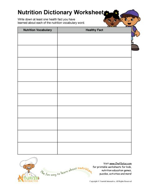 Free Printable Health Worksheets Printable Nutrition Vocabulary Word and Healthy Facts