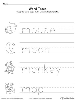 Free Printable Letter M Worksheets Trace Words that Begin with Letter sound M