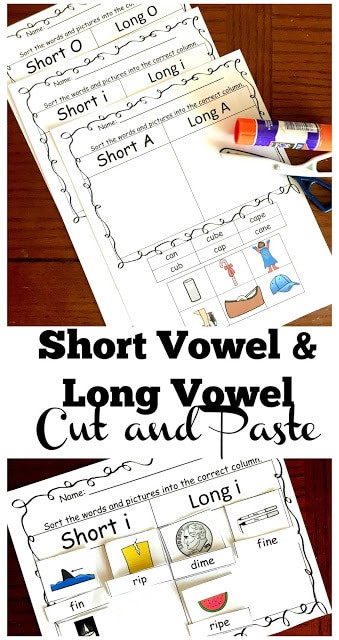 Free Printable Long Vowel Worksheets Free Long Vowel and Short Vowel Cut and Paste Worksheets