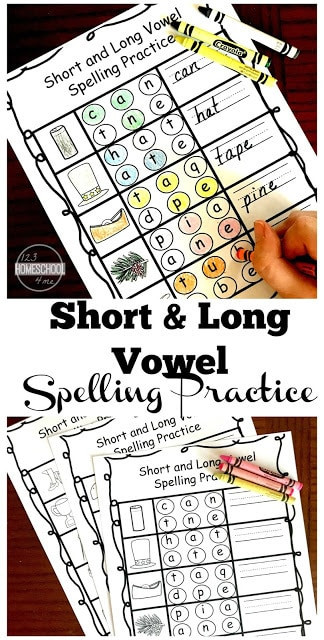 Free Printable Long Vowel Worksheets Free Short and Long Vowel Spelling Practice