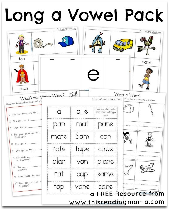 Free Printable Long Vowel Worksheets Long A Vowel Pack Free Printable Pack