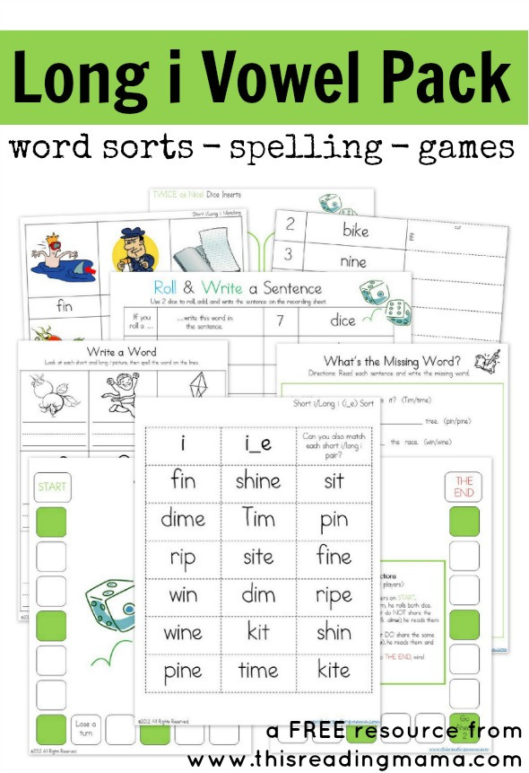 Free Printable Long Vowel Worksheets Long I Vowel Pattern Free Printable Pack