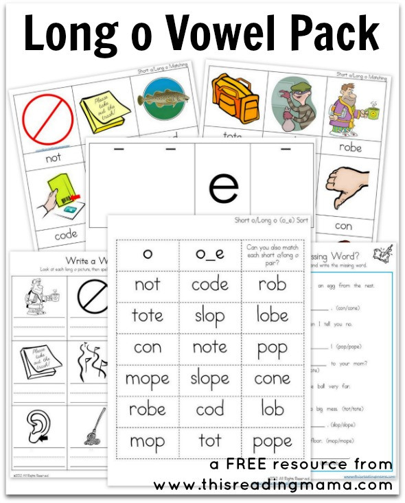 Free Printable Long Vowel Worksheets Long O Vowel Pack Free Printable