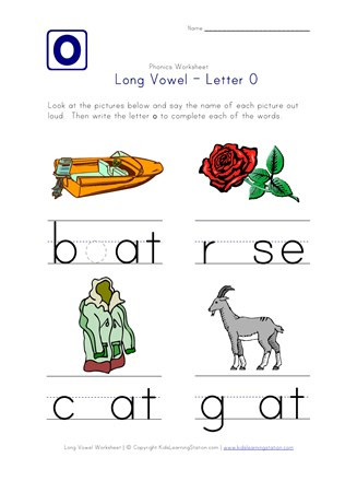 Free Printable Long Vowel Worksheets Long Vowel O Worksheet
