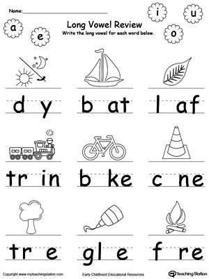 Free Printable Long Vowel Worksheets Long Vowel Review Write Missing Vowel