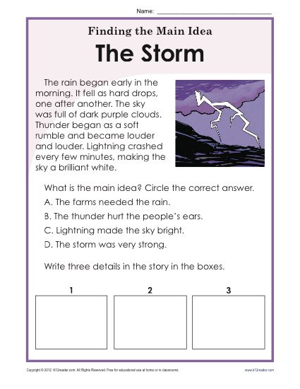 Free Printable Main Idea Worksheets 1st or 2nd Grade Main Idea Worksheet About Storms