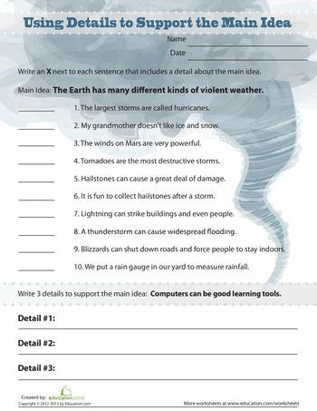 Free Printable Main Idea Worksheets Persuasive Writing Fifth Grade Lessons Activities
