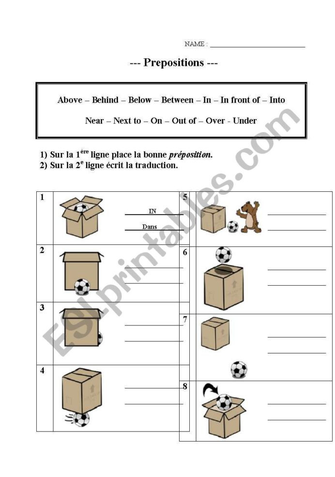 Free Printable Preposition Worksheets Prepositions Esl Worksheet by Profcitron Worksheets Adding
