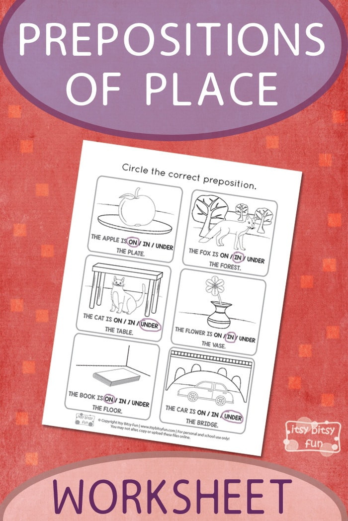 Free Printable Preposition Worksheets Printable Prepositions Of Place Worksheet Itsybitsyfun