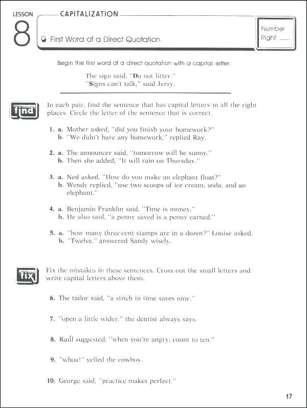 Free Printable Punctuation Worksheets Capitalization Worksheets Middle School Grade 7 Math