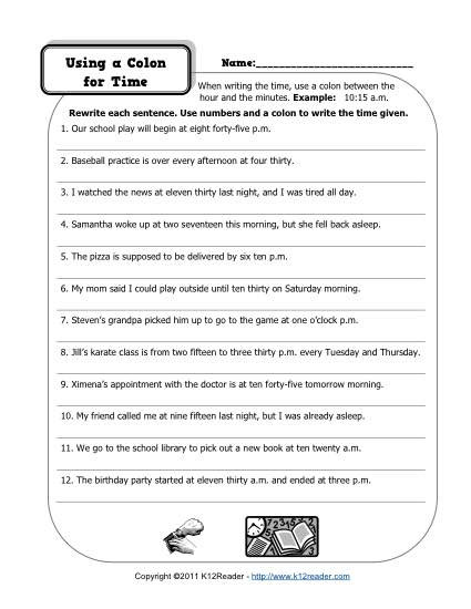 Free Printable Punctuation Worksheets Colons and Time