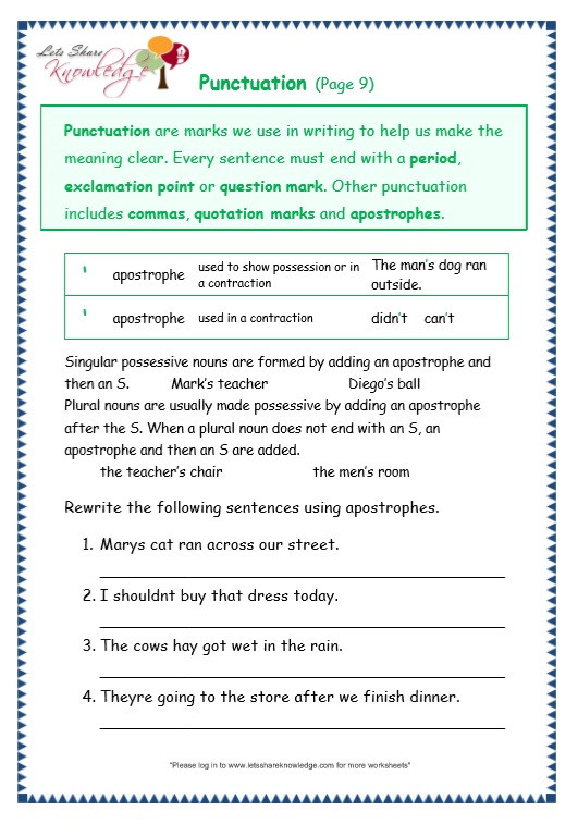 Free Printable Punctuation Worksheets Grade Grammar topic Punctuation Worksheets Lets