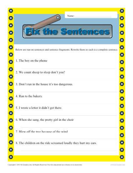 Free Printable Sentence Structure Worksheets Run On and Fragments