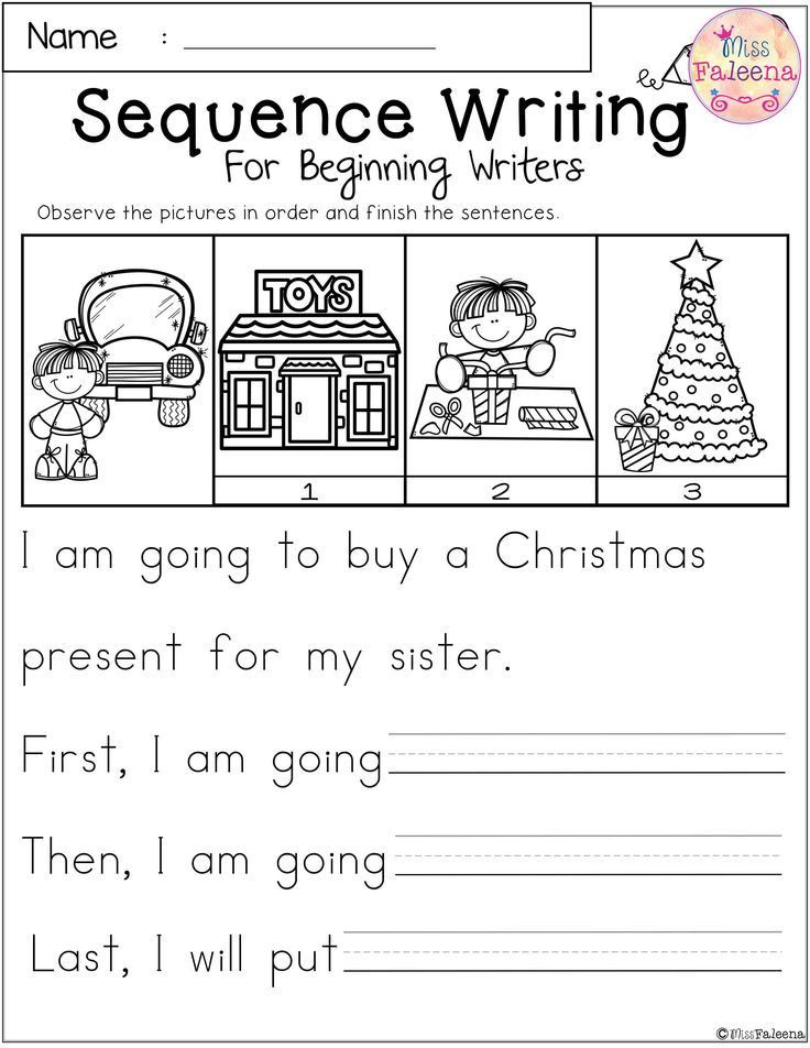 Free Printable Sequencing Worksheets December Sequence Writing for Beginning Writers