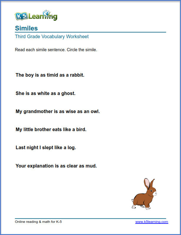 Free Printable Simile Worksheets Grade 3 Vocabulary Worksheets – Printable and organized by