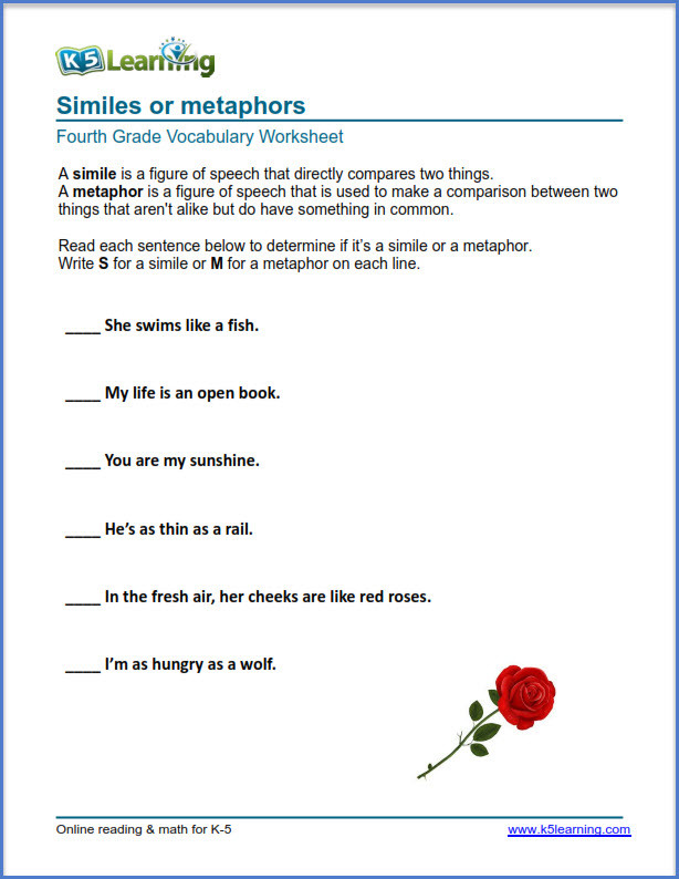 Free Printable Simile Worksheets Grade 4 Vocabulary Worksheets – Printable and organized by