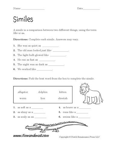Free Printable Simile Worksheets Printable Simile Worksheets