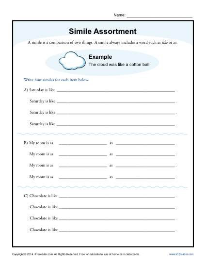 Free Printable Simile Worksheets Simile assortment