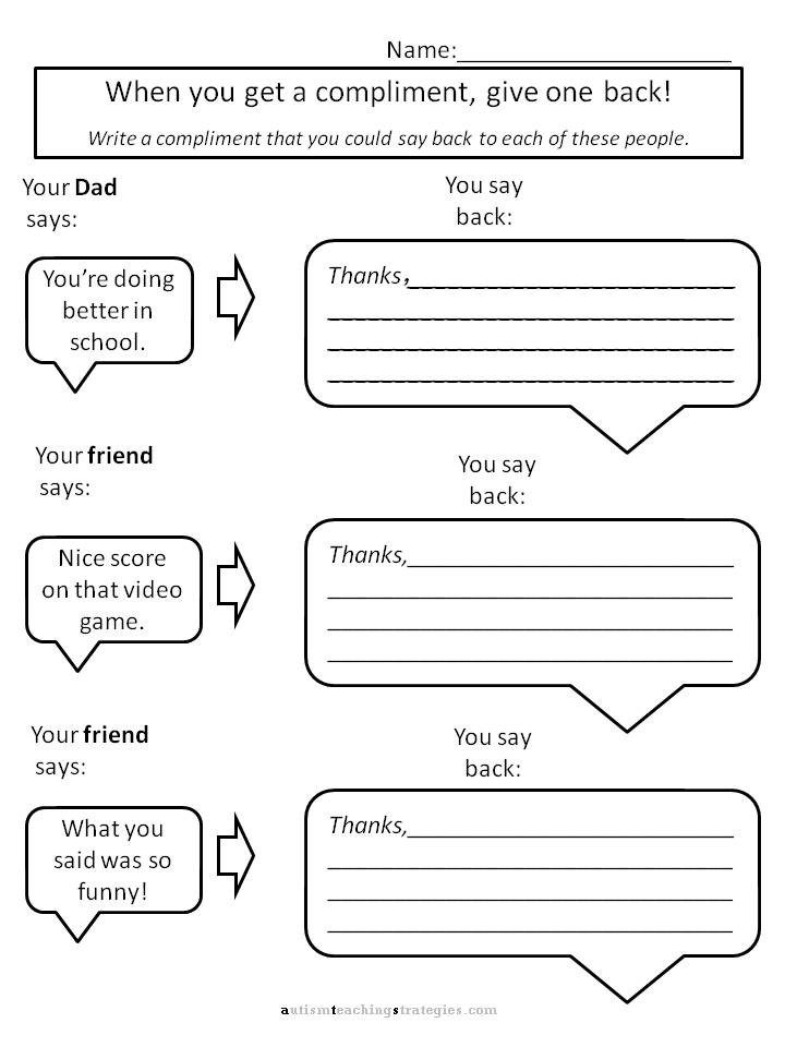 Free Printable social Skills Worksheets Helping Kids with asperger S to Give Pliments Worksheets