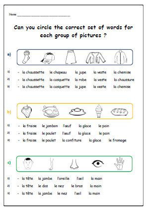 French Printable Worksheets Vocabulary French Worksheetteaching Resources by