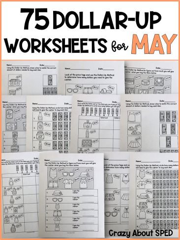 Functional Math Worksheets Special Education Dollar Up Bundle May Life Skills Money Math for Special